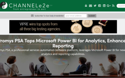Interesting article by Ty Trumbull of ChannelE2E about Promys PSA's new Intuitive & Easy to Understand Executive Reporting & Trending Analytics Based on an Integration with Microsoft Power BI